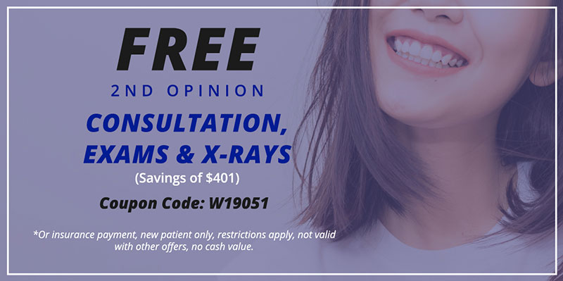 Coupon for a Free Second Opinion dental consultation for A Plus Dental in San Diego and Escondido, CA